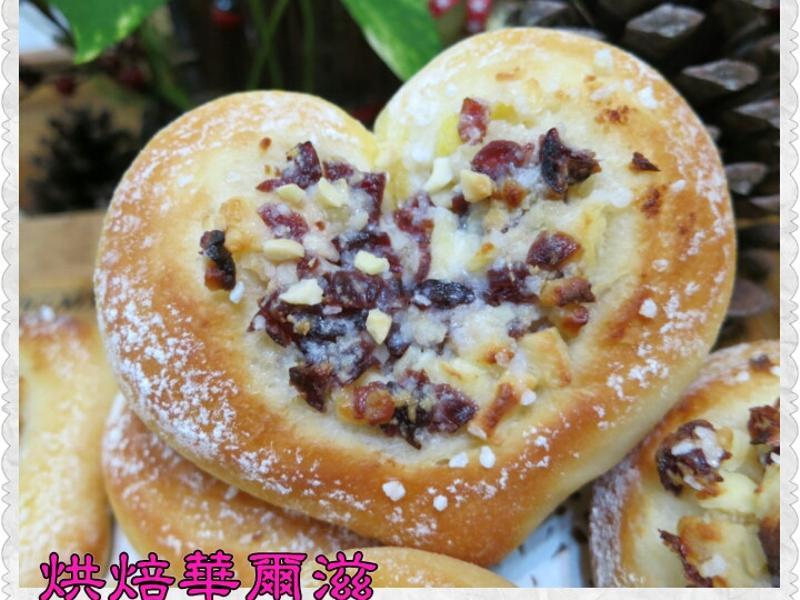 心型乳酪蔓越莓麵包-烘焙華爾滋