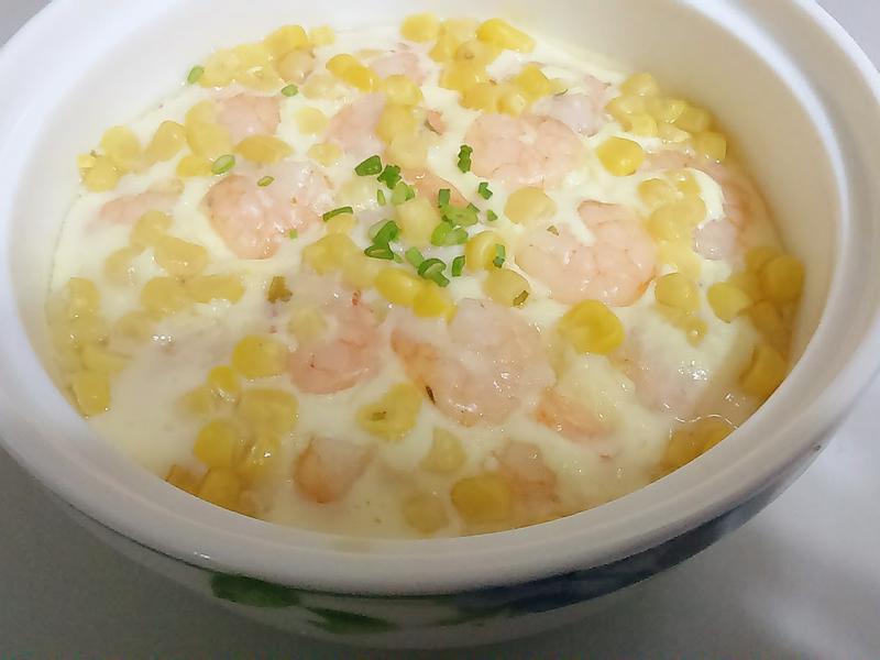 家常-玉米蝦仁豆腐蒸蛋