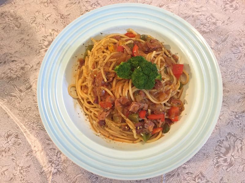 茄汁培根義大利麵<蕃茄醬懶人料理>