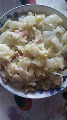 長椰菜炒豬排肉