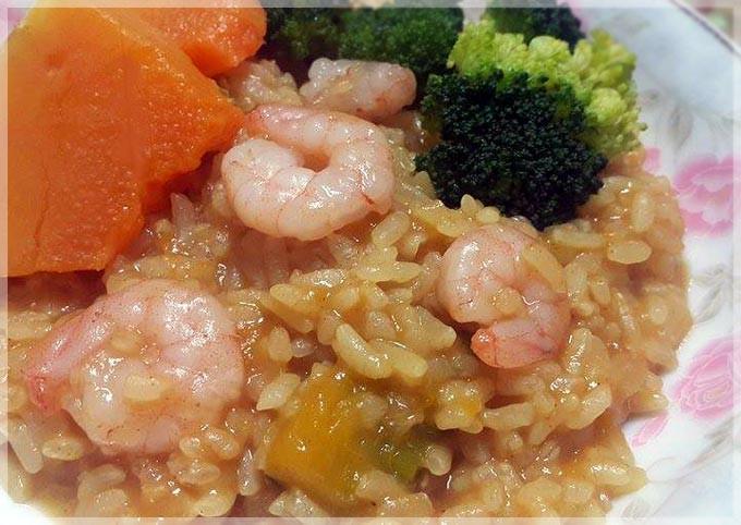 咖哩南瓜蝦仁燉飯♥剩飯變化料理