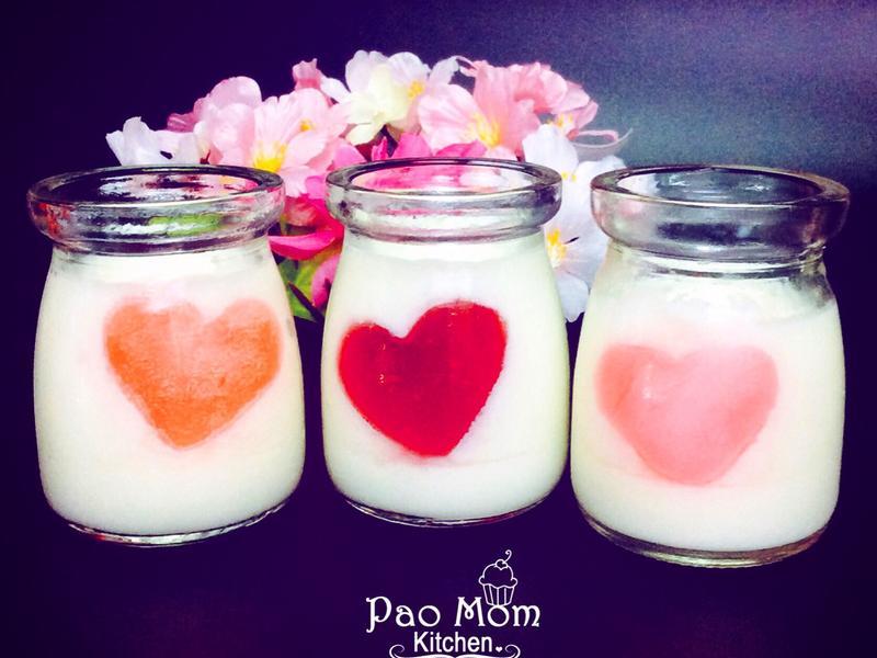 牛奶愛心果凍