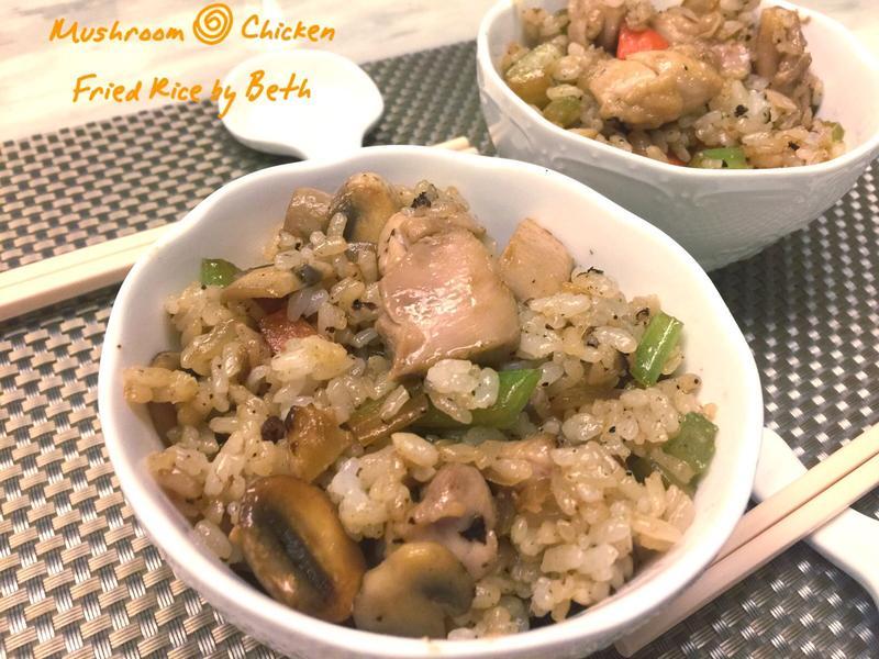 蒜香蔬菜雞肉炒飯