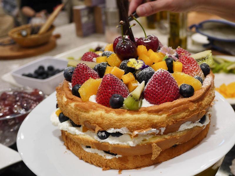 苦茶油季節水果裸蛋糕(8吋)