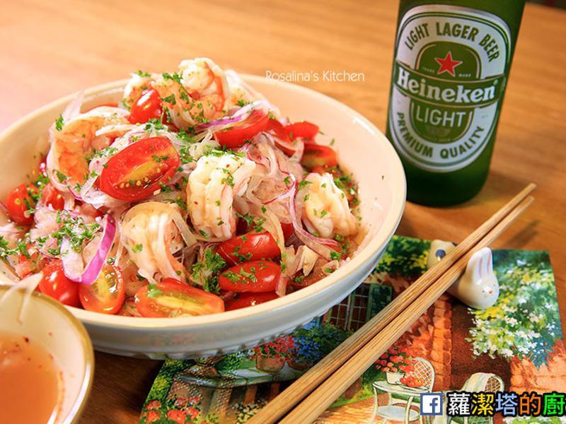 涼拌海鮮沙拉。紫蘇梅版。