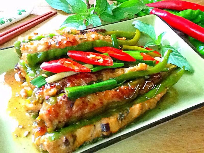 醬燒糯米椒鑲肉