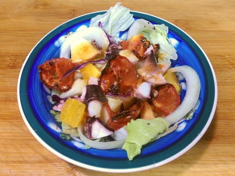 烤番茄油醋章魚沙拉