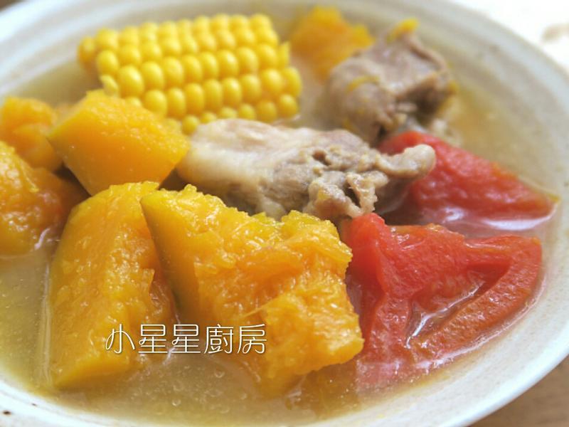 田園風~南瓜玉米蕃茄排骨湯