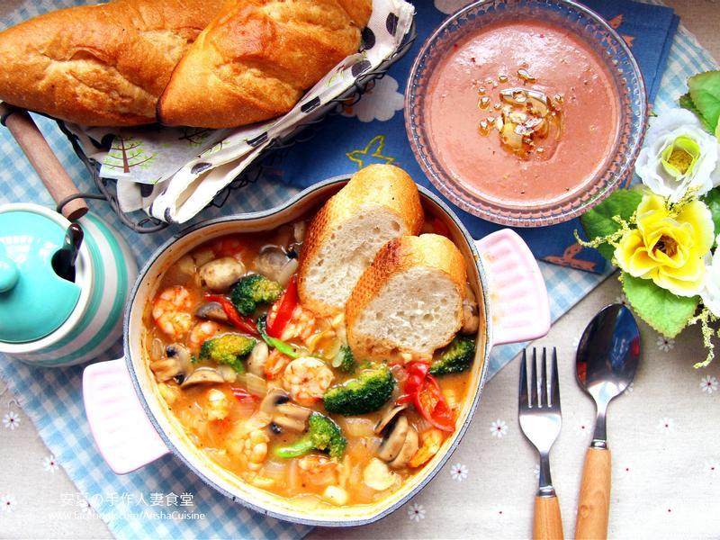 蒜辣奶油蝦佐麵包+番茄冷湯