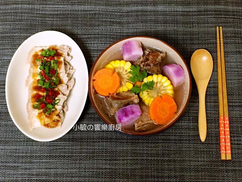 [電鍋一鍋二菜]山藥玉米排骨湯+蒜泥白肉
