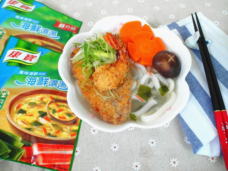 海陸雙拼烏龍麵【10分鐘湯麵粥康寶食譜】