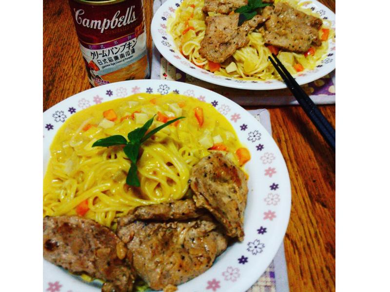 【金寶湯】日式南瓜豬排義大利麵