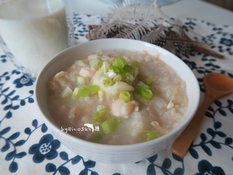 山藥百合瘦肉粥+薏仁牛奶