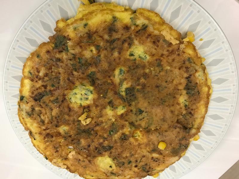 魩仔魚莧菜玉米煎蛋