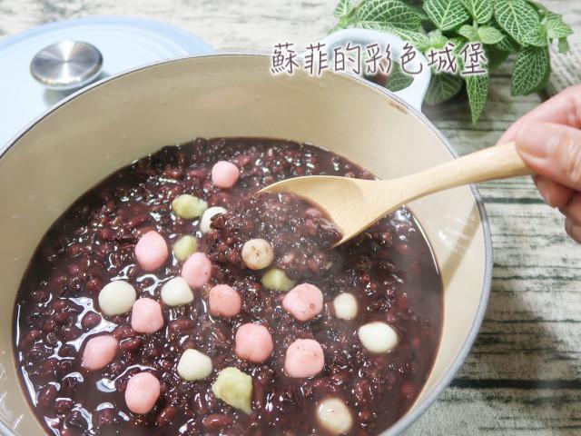 紫米紅豆湯圓粥(電鍋版之紅豆免泡水煮法)