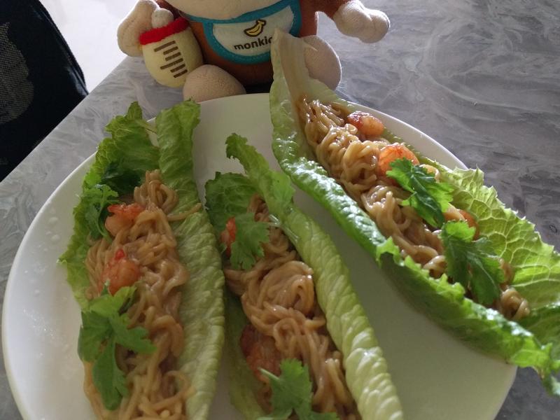 生菜包照燒蝦仁拉麵