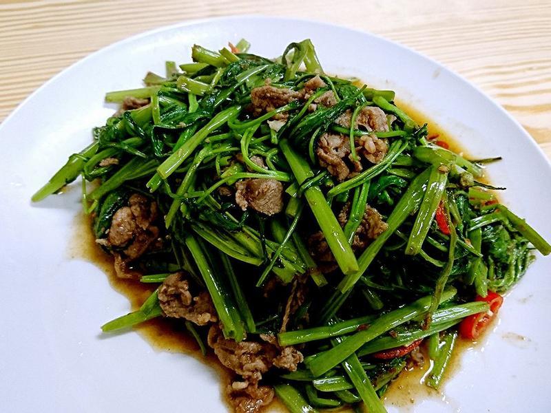 空心菜炒羊肉
