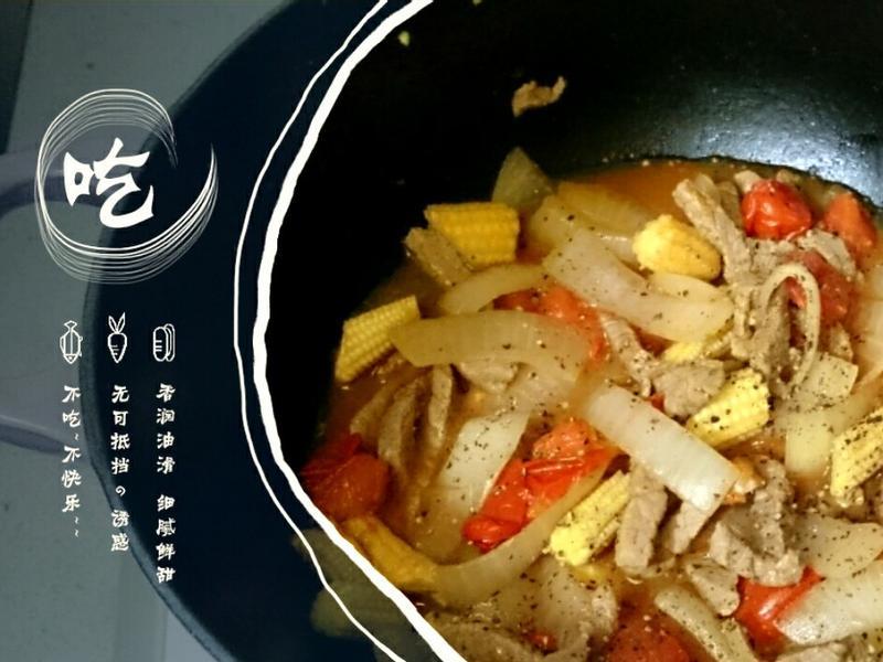番茄時蔬炒牛肉絲【鑄鐵鍋】