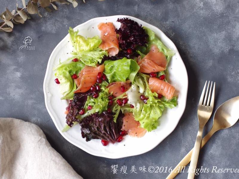 饗瘦美味-煙燻鮭魚佐芒果香醋綜合沙拉