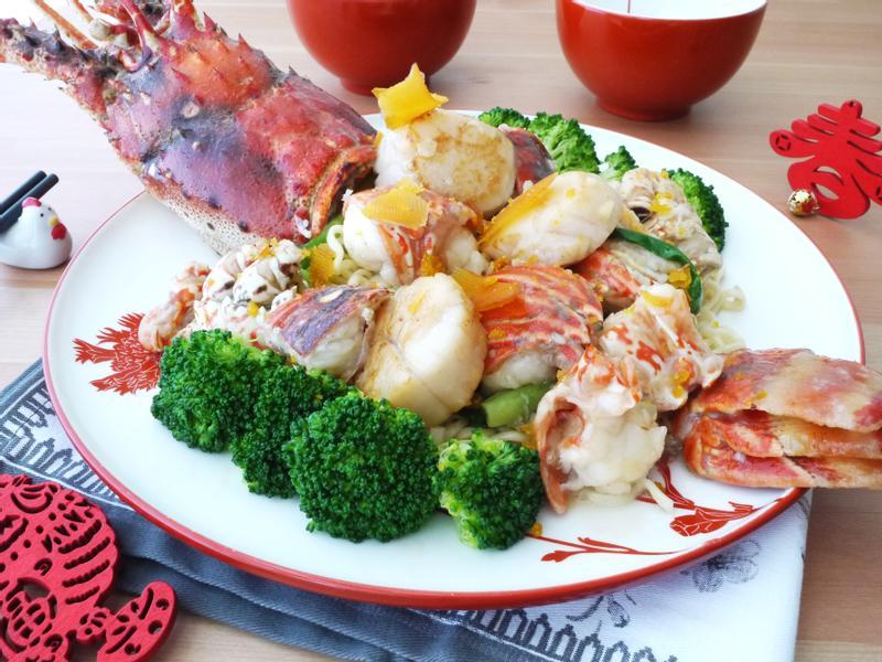 年菜~焗龍蝦干貝烏魚子拌麵