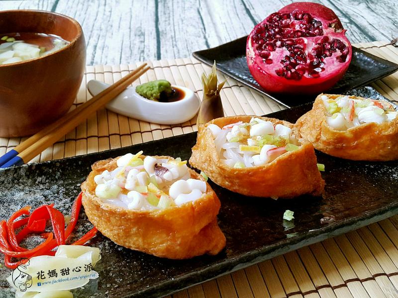 涼拌芹菜透抽豆皮蒟蒻壽司