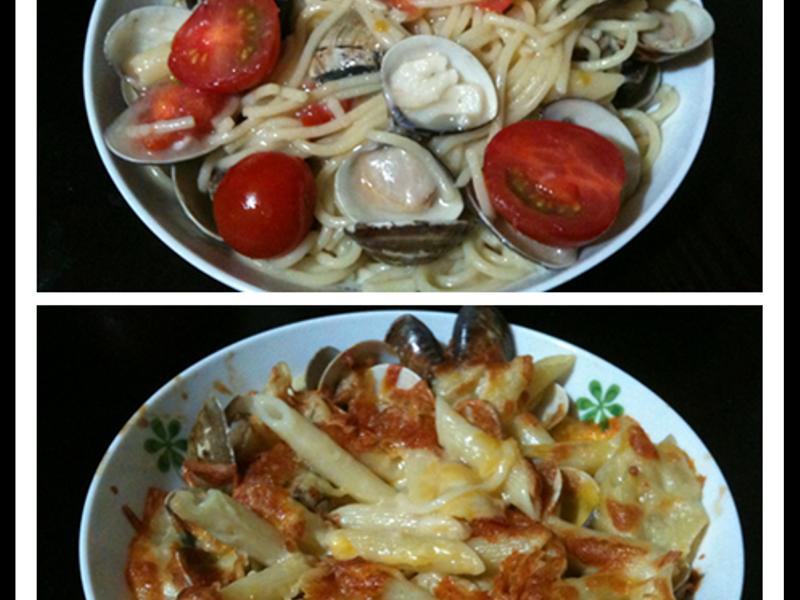 白醬蛤蠣義大利麵+焗烤螺絲麵
