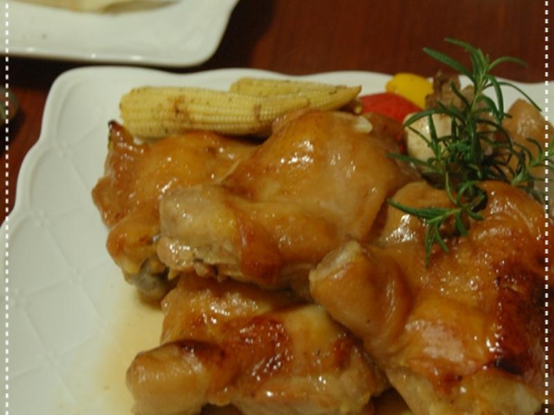 一次兩道菜-烤迷迭雞腿+烤義大利時蔬