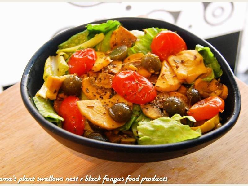 黑木耳番茄烤蕈菇沙拉.柯媽媽の植物燕窩