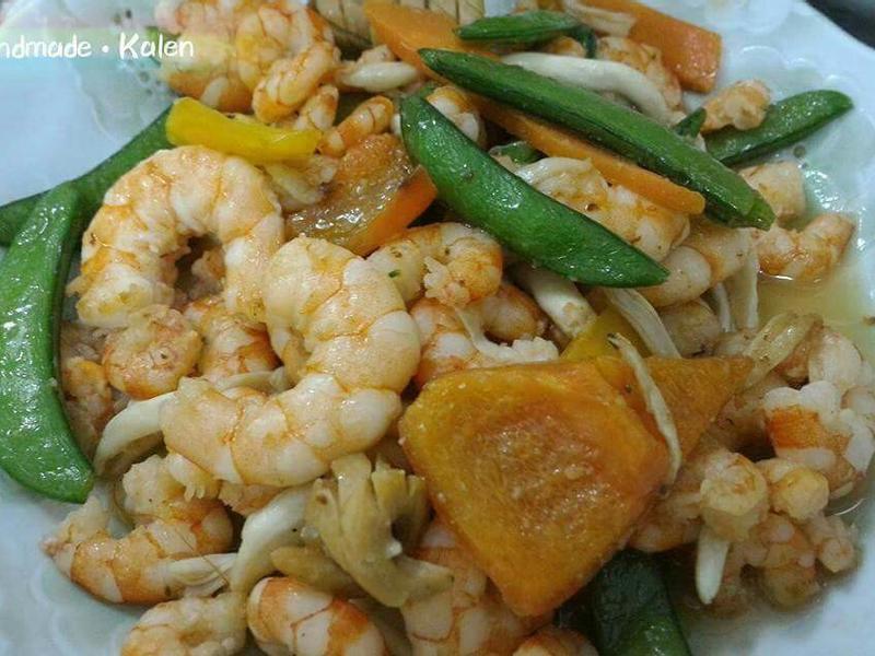 懶人菜譜-甜椒菇菇炒蝦仁