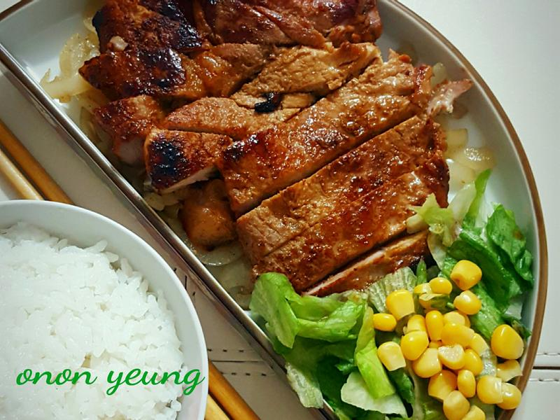 日式照燒洋蔥豬排 簡易。家常菜。晚餐