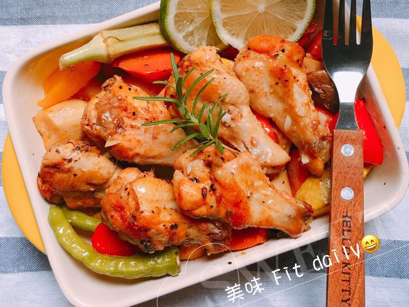 鹽檸檬烤雞翅佐時蔬~美味健康料理