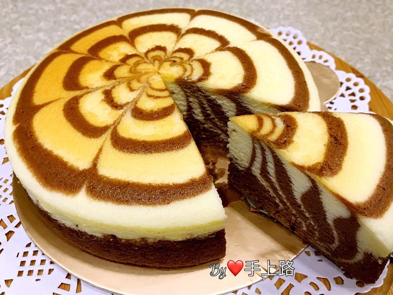 可可雙色拉花輕乳酪蛋糕(6吋)