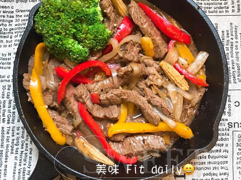 黑胡椒鐵板牛柳😋一鍋到底快速料理