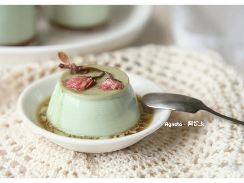 [阿妮塔♥sweet] 抹茶嫩豆腐布丁(點綴和風鹽漬櫻花)。