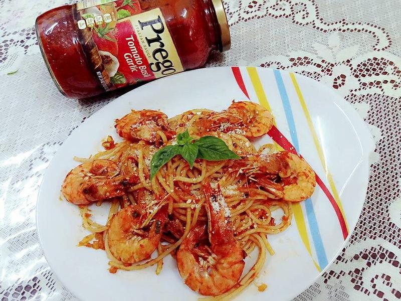 茄汁乾燒蝦義大利麵