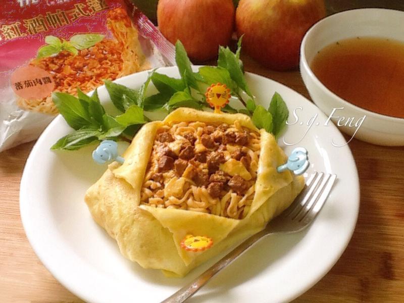 起司蕃茄肉醬蛋包義麵【紅酒帕式達】