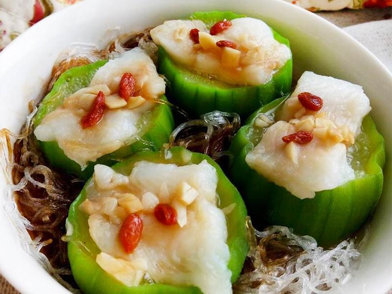 蒜味魚蒸絲瓜冬粉★簡易電鍋料理