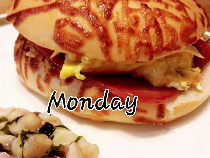 週一。起司火腿蛋貝果🍔