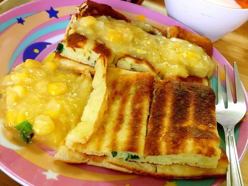 簡易香蔥玉米醬鬆餅