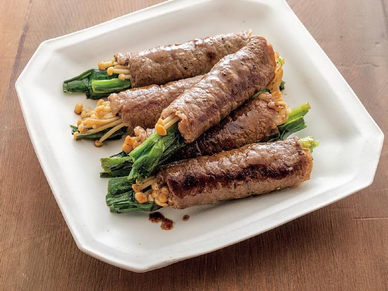 東販小食堂:奶油醬油韭菜蕈菇牛肉捲