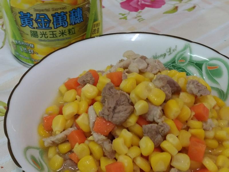 梅花肉炒玉米-愛之味黃金萬穗陽光玉米粒