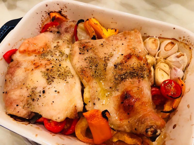 簡單蔬菜烤蒜球&雞腿排
