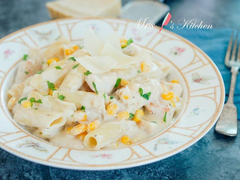 起司鮮奶油雞肉玉米長通粉