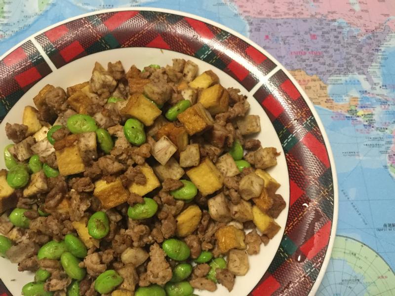 五香辣炒四寶 (芋頭、毛豆、豆干、豬肉)