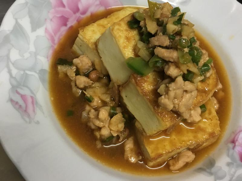 麻油嫩煎絞肉豆腐