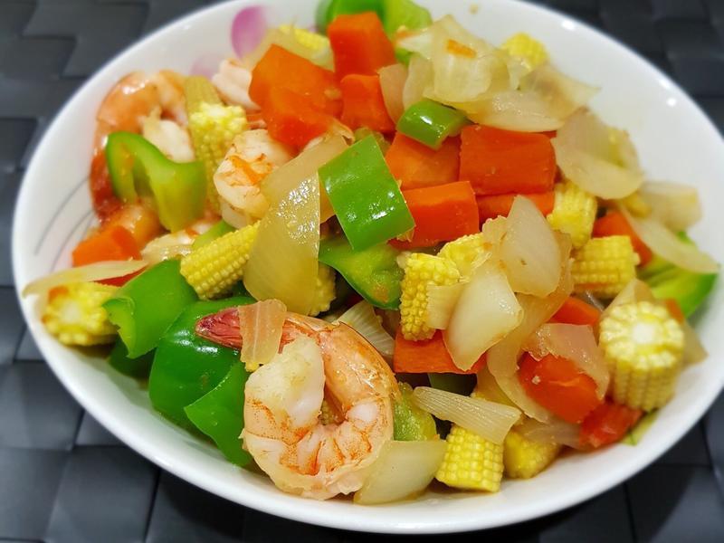 鮮蝦炒時蔬 低卡簡易美食