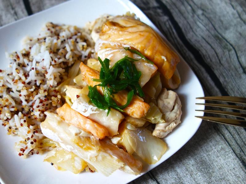 簡單又減脂的日式蒸鮭魚肚豆腐