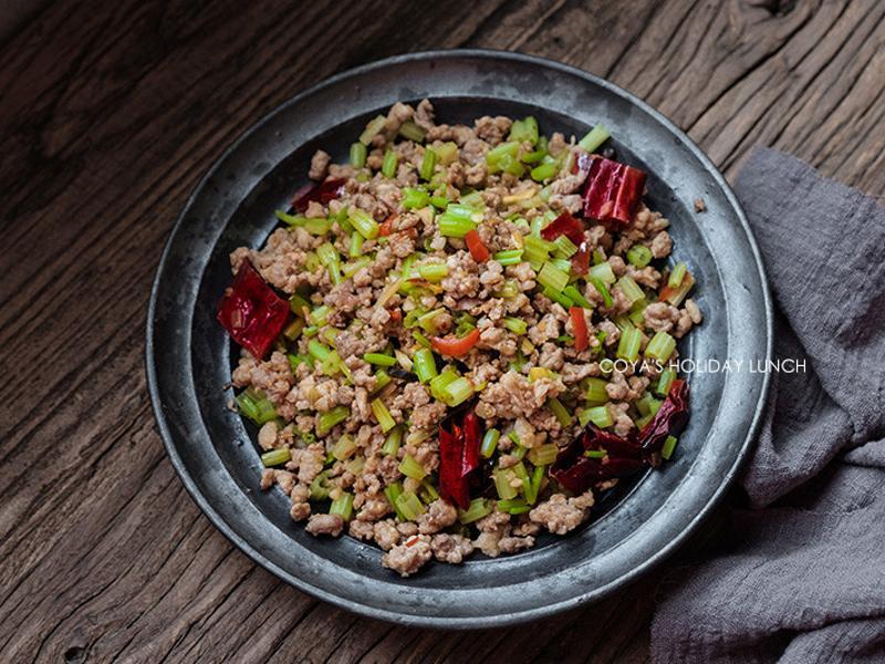 椒麻芹菜炒肉末