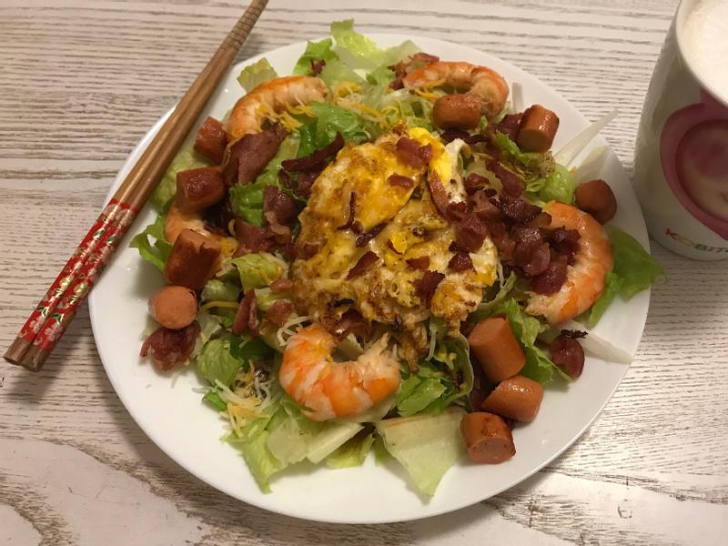懶人低碳生酮~蝦子生菜沙拉