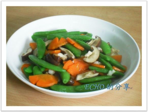 簡單少油煙料理:香菇炒甜豆